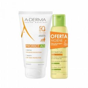 A-Derma Protect AD Promo Creme SPF50+ 150 ml com Oferta de Exomega Óleo Duche 100 ml