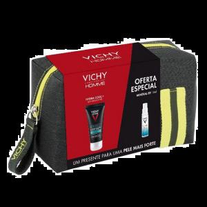 Vichy Homme Hydra Cool+ Gel hidratante 50ml com Oferta Minéral 89 Concentrado fortificante 10 ml + Bolsa